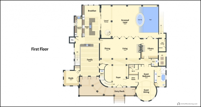 Casey Key - Color Floor Plans